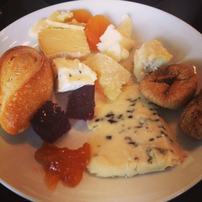 Our communal platter - with soft cheeses ranging in ages and textures