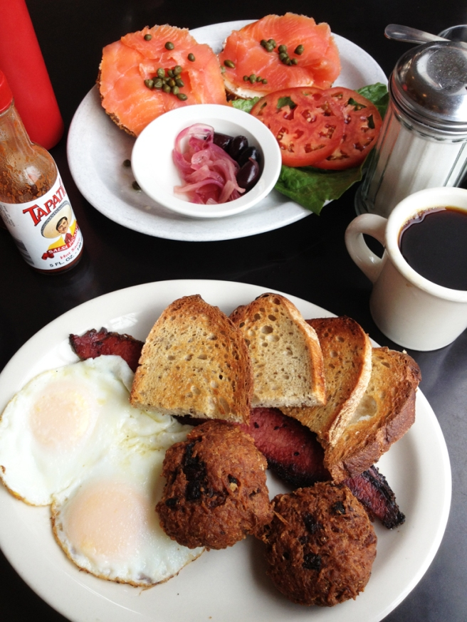 Our full breakfast at Kenny and Zuke's Delicatessen in Portland, Oregon