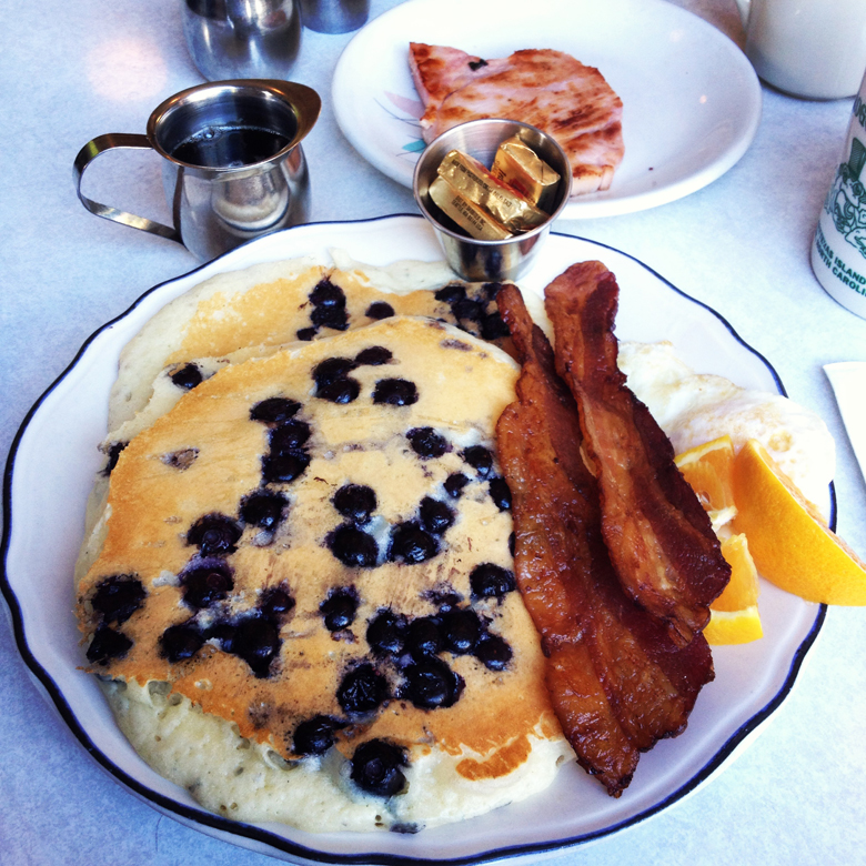 Sunrise Special with blueberry pancakes at Byway Cafe in the Pearl District, PDX