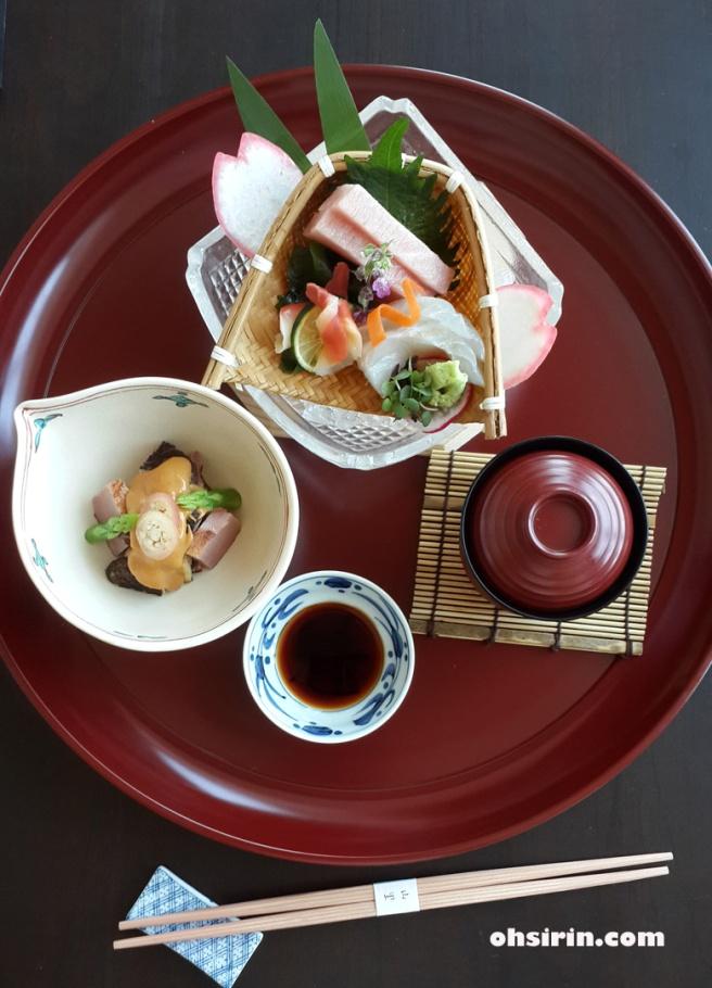 First course of Yamazato Kaiseki - sashimi, soup and starter