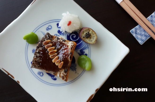 Grilled dish of cutlassfish with butterbur miso comes second