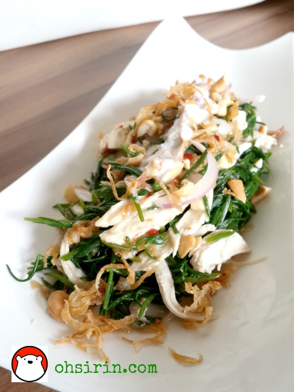 Salad of Chakarn and pulled chicken with coconut cream